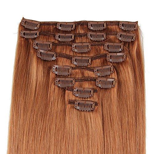 Beauty7 120g Extensions de cheveux humains à clip 100% Remy Hair #10 Couleur Marron Longueur 46 cm