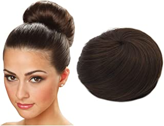 Clip in Hair Bun Extension Donut Chignon Ballerina Synthetic Hairpieces Brown Updo Hair Piece Brown Brunette For Women Gril Lady Accessories SARLA Q3&2/30