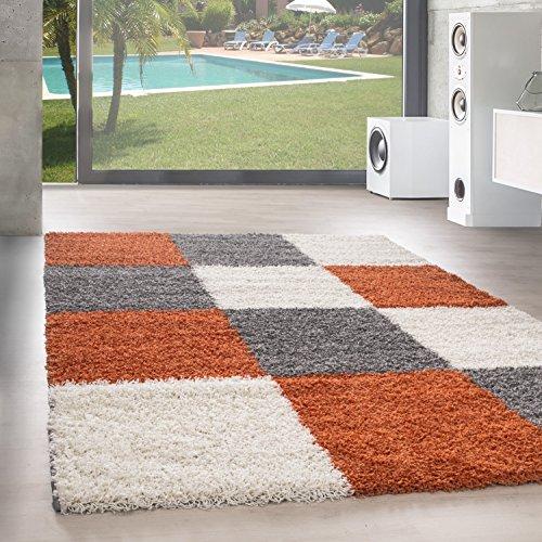 Shaggy Hochflor Langflor Teppich Wohnzimmer Carpet Farben & Formen Karo Kariert!, Größe:80x150 cm, Farbe:Orange