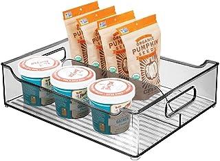 mDesign Caja organizadora con Asas – Contenedor de plástico con 2 divisiones para almacenar Alimentos – Cajón de Cocina de plástico para el Armario de la Cocina o la Nevera – Gris Oscuro