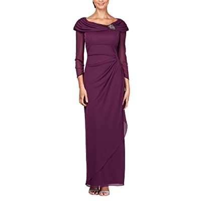 Alex Evenings Petite Ruched Illusion Sleeve Gown with Portrait Neckline (Deep Plum) Women