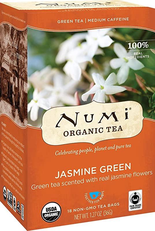 Numi Organic Tea Jasmine Green 18 Count Box Of Tea Bags Pack Of 3 Packaging May Vary