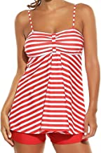 OcEaN Swim Women Tankini 2PCS Beach Striped Print Bathing Surfing Swimwear Suit Plus Size