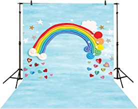 Funnytree 5x7ft Photography Backdrop Rainbow Star Love Heart Blue Birthday Baby Shower Children Background Photo Studio photocall