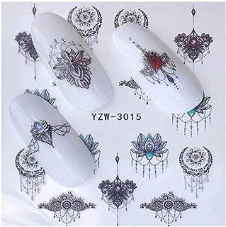 Full Sheet Black Jewel Lotus Zen Peach Nail Stickers Half Moon - Salon Quality Nail Art Nail Wrap Nail Decals - 1 Sheet