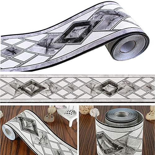 Azulejos blanco negro patrón moldura papel pintado frontera Peel Stick Home techo decorativo frontera para baño salón...