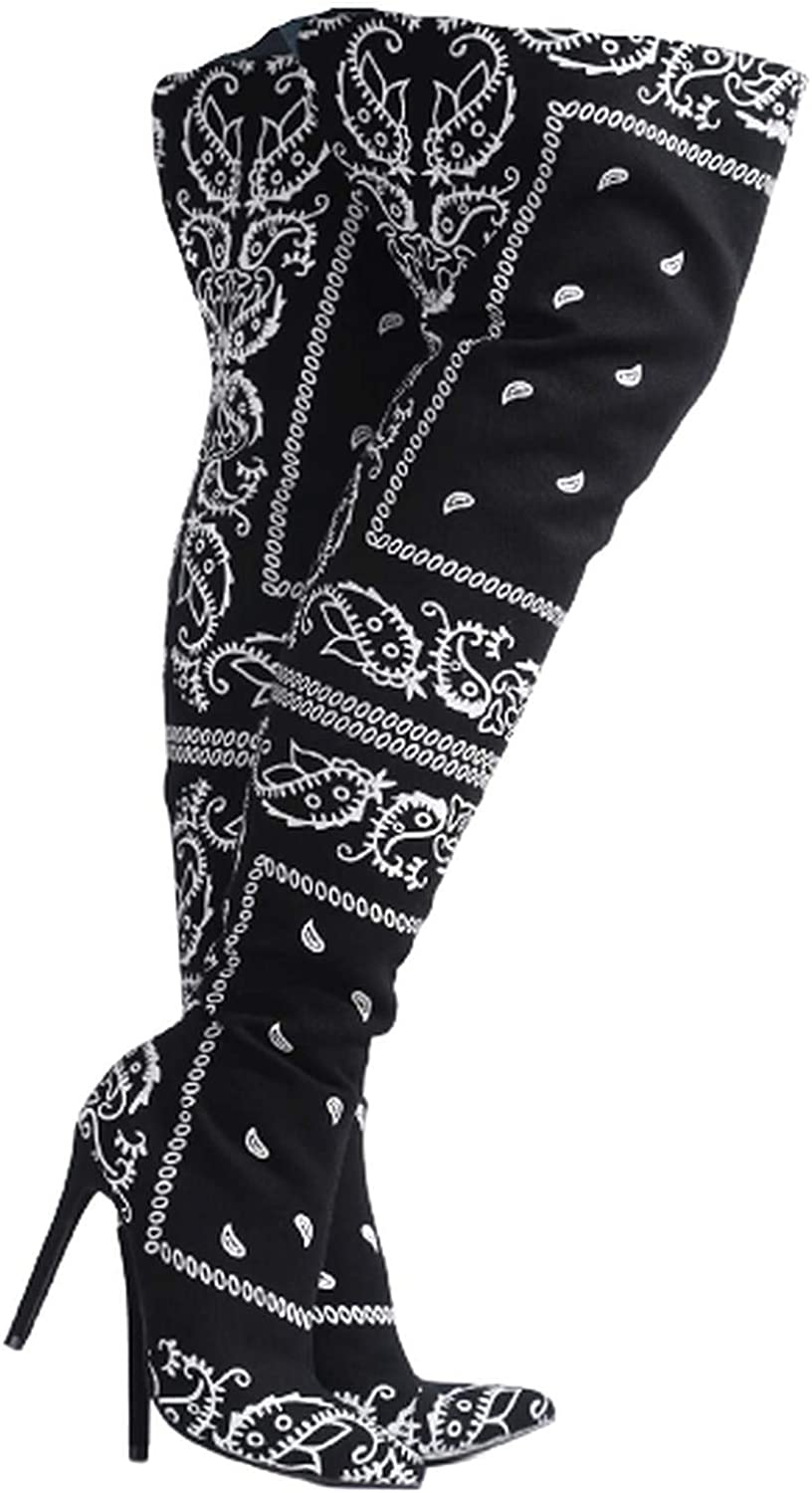 Cape Robbin Spring Bandana Print Over Cheap mail Ranking TOP4 order shopping The H Knee Boots Stiletto