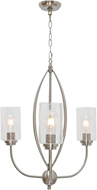 TODOLUZ 3-Lights Island Pendant Light Fixture with Seeded Glass, Brushed Nickel Ceiling Hanging Lighting for Dining Room Kitchen Bedroom