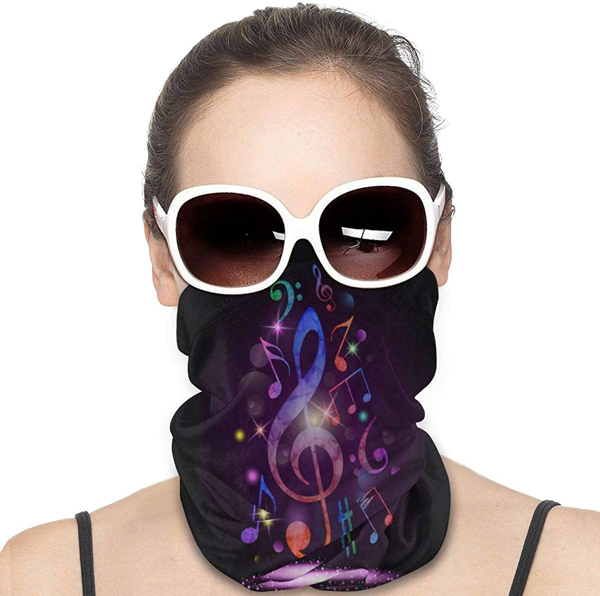 Tidyki Balaclava Sun Protection Face Mask - Colorful Music Notes Rhythm Song Motorcycle Mask Ski Mask Face Scarf Head Bands Neck Gaiters for Men Headscarf Neck Gaiter