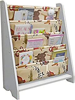 XJJUN Sling Bookshelf Finishing Cabinet Floor-standing 3 Storage Bags Children's Picture Book Stand 4 Layers Wood Durable ...