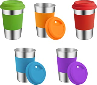 Stainless Steel Cups, Supkiir Metal Drinking Tumblers with Silicone Lids&Sleeves, Unbreakable Light Drinking Cups For Kids/Adults, Set of 5 Metal Cups for Coffee Beer Milk Wine -BPA Free