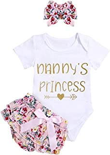Infant Baby Girl Clothes Daddy's Girl Letter Print Romper...