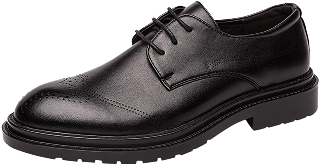RQWEIN Men's Dress Shoes with Genuine Leather in Classic Brogue Elastic Band Oxford Shoes Formal Wingtip Shoes