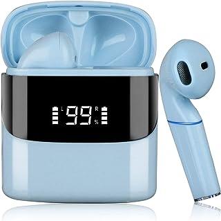 Audífonos Inalámbricos Bluetooth 5.0, Uplayteck Audifonos Deportivos para Correr, Mini In-Ear Auriculares con Caja de Carga, Pantalla LED de Batería, Control Tactil, Micrófonos Dual Incorporado, Manos Libre Auriculares Wireless Impermeable con Cancelación de Ruido (Azul)