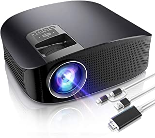 LoongSon HD Outdoor Mini Projector Video Movie Projector, Support 1080P Dual Speakers, Entertainment HD LED LCD Projector for Home Theater, Compatible with HDMI / VGA / MicroSD / AV and USB