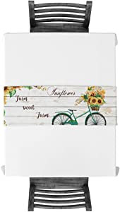HELLOWINK 90Inch Burlap Table Runners for Dinning Room, Sunflower Bicycle, Cotton Linens Table Runner Table Cloth for Wedding Party Holiday Home Decor(Rustic Wood)