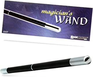 Magic Makers Pro Model Magician's Wand (Black & Chrome) - 13.5 Inches Real Wood with Metal Tips