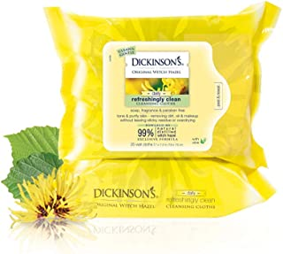 Dickinson's Original Refreshingly Clean Daily Cleansing Cloths, Witch Hazel and Aloe, 25 Count