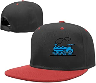 Wiongh Opp Hip Hop Baseball Caps Adjustable Hats Steam Train and Railway Blue Boy-Girls