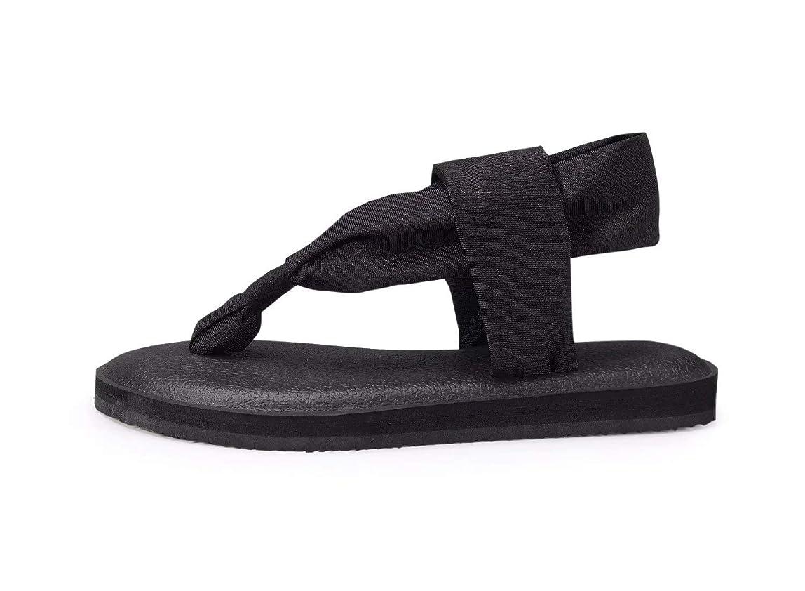 CHUI Women Yoga Sandals Sling Lightweight Casual Flats Thong Solid Color Flip-Flop for Summer Beach dnhinba060702