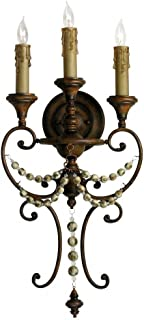 Cyan Designs 03009 Sconce with Beads Shades, Antiqued Sienna Finish
