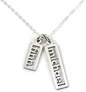 Personalized Necklace Open Double Sterling Silver or 14k Gold Plate over Sterling Silver