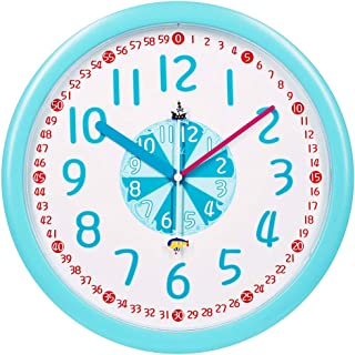 TXL Telling Time Teaching Clock Kids Room Playroom Décor Analog Silent Wall Clock Learning Clock Time Resource Educational...
