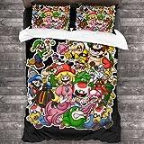 ZCMZMP Super Mario Brothers Mario, Luigi, Peach Princess, funda nórdica de microfibra, no irritante, regalos para niños y niñas (Mario2,135 x 200 cm + 80 x 80 cm x 2)