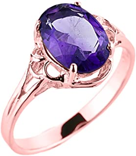 Solid 10k Rose Gold February Birthstone Genuine Amethyst Gemstone Ring