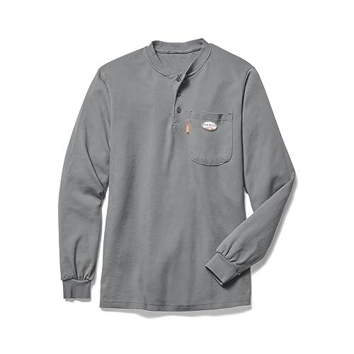 f24c3dc58987 Rasco FR Mens Rasco Long Sleeve Flame Resistant FR Henley T Shirt L Grey