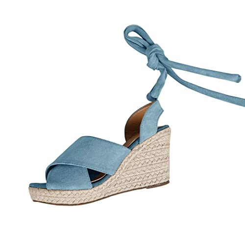 36a47d4d738d Syktkmx Womens Lace Up Platform Wedge Espadrille Heel Peep Toe Slingback  D Orsay Sandals