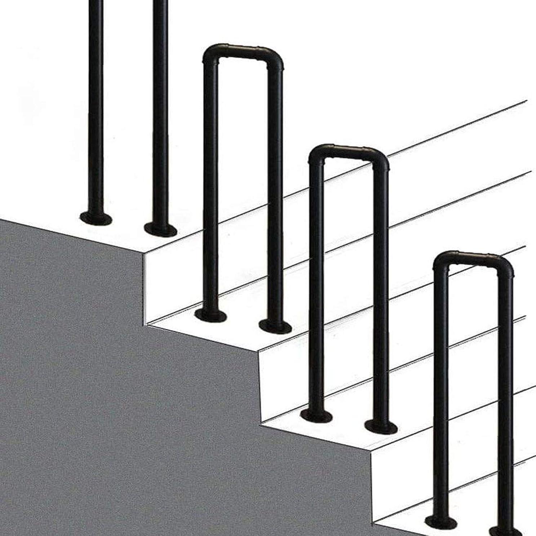 傷つきやすい累計迷信手すり 工業用風階段の手すり、錬鉄製の黒いU字型の手すり、屋内と屋外のロフトバー階段廊下の手すり屋根裏部屋のセキュリティフェンス、35cm / 1.1フィート
