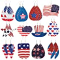 Cosweet 12 Pairs Different Styles American Flag PU Leather Dangle Earrings- Heart Pentagram Teardrop Lightweight Faux Leather Earrings Fashion Jewelry for Women Girls Independence Day Gift