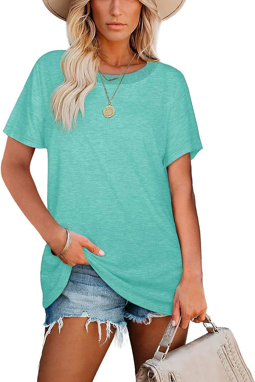 Womens Tshirts Short Sleeve Crewneck Shirts Loose fit Summer Tops