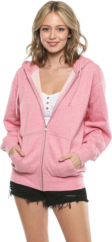 Urban Look Women's Relax Fit Everyday Fleece Zip Up Hoodie Jacket