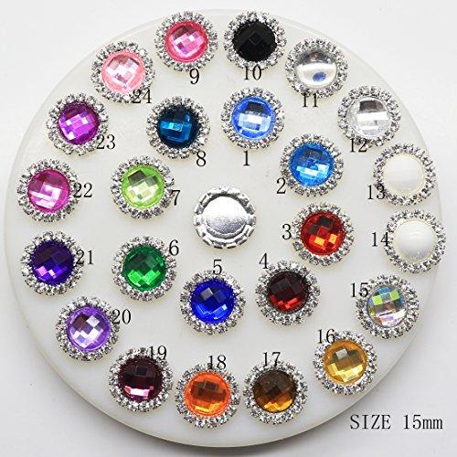 50 pcs 15 mm rond en acrylique Décoration strass Bouton Flateback DIY Accessoires Mix 24 couleurs