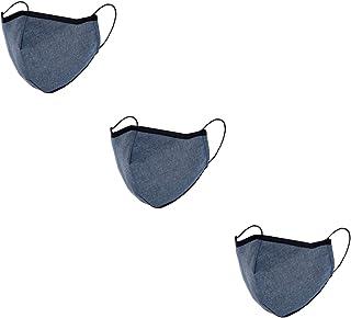 Pack de 3 Mascarilla de Tela Reutilizable 100 % algodón unisex de adulto azul jeans