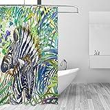 jstel Tropical Exotic Forest Zebra Blätter Polyester-Duschvorhang Schimmel resistent & wasserfest-182,9x 182,9cm für Home Extra Lang Badezimmer Deko Dusche Bad Gardinen Liner mit 12Hoo