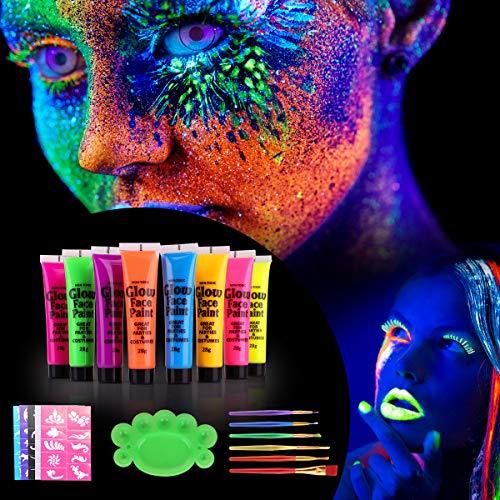 Herefun [8 X 25ml] UV Glow Pintura Corporal y Facial, Pintar Neón Fluorescente Color UV Luz Negra Arte Fosforescente Maquillaje, Face Paint para Niños Adulto, Fiesta Cumpleaños Halloween Navidad