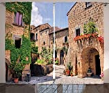 Ambesonne Tuscany Curtains, Italian Streets in Countryside Traditional Brick Houses Old Tuscan Prints, Living Room Bedroom Window Drapes 2 Panel Set, 108' X 84', Multicolor