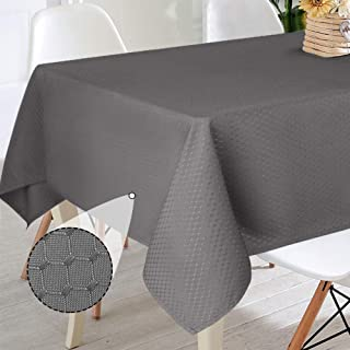 VCVCOO Rectangle Table Cloth, Oil-Proof Spill-Proof Waffle Jacquard Weave Tablecloth, Decorative Fabric Table Cover for Outdoor and Indoor Use (Carbon Grey, 60 x 84 Inch)
