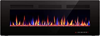 Joy Pebble 50 Inches Electric Fireplace Wall Mounted, 750/1500W Recessed in-Wall Heater, 12 Flame Settings, Touch Panel, Remote Control with Timer, Black