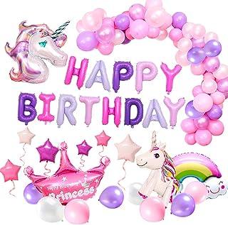 comprar comparacion MMTX Suministros de Decoraciones de Fiesta de Unicornio, con 2pcs Enorme Globo de Unicornio, Feliz Cumpleaños Ballon Banne...
