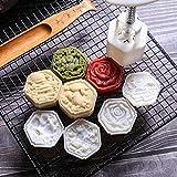 Chenso Mooncake - Prensa para galletas, 50 g, forma de barril con 4 piezas cuadradas de flores, prensas manuales, molde para hornear