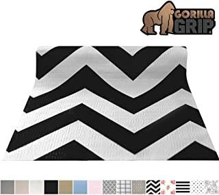 Gorilla Grip Original Smooth Top Slip-Resistant Drawer and Shelf Liner, Non Adhesive Roll, 20 Inch x 10 FT, Durable Kitchen Cabinet Shelves Liners for Kitchens Drawers and Desks, Chevron Black White