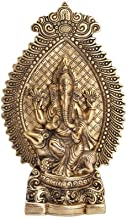 Handicrafts Paradise Ganesha showpiece Seated on Mouse in Metal Antique Gold Plated