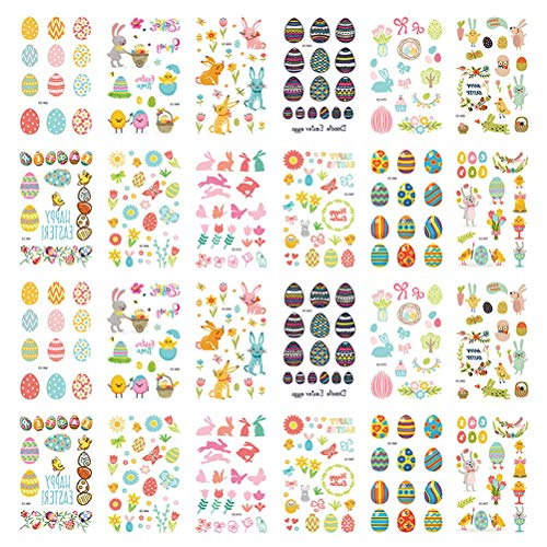 Jky 24 vellen Pasen tattoo stickers, schattige cartoon stickers haasjes ei Pasen thema feest levert decoraties voor taille, borst, hals, armen, rug, benen, schouders