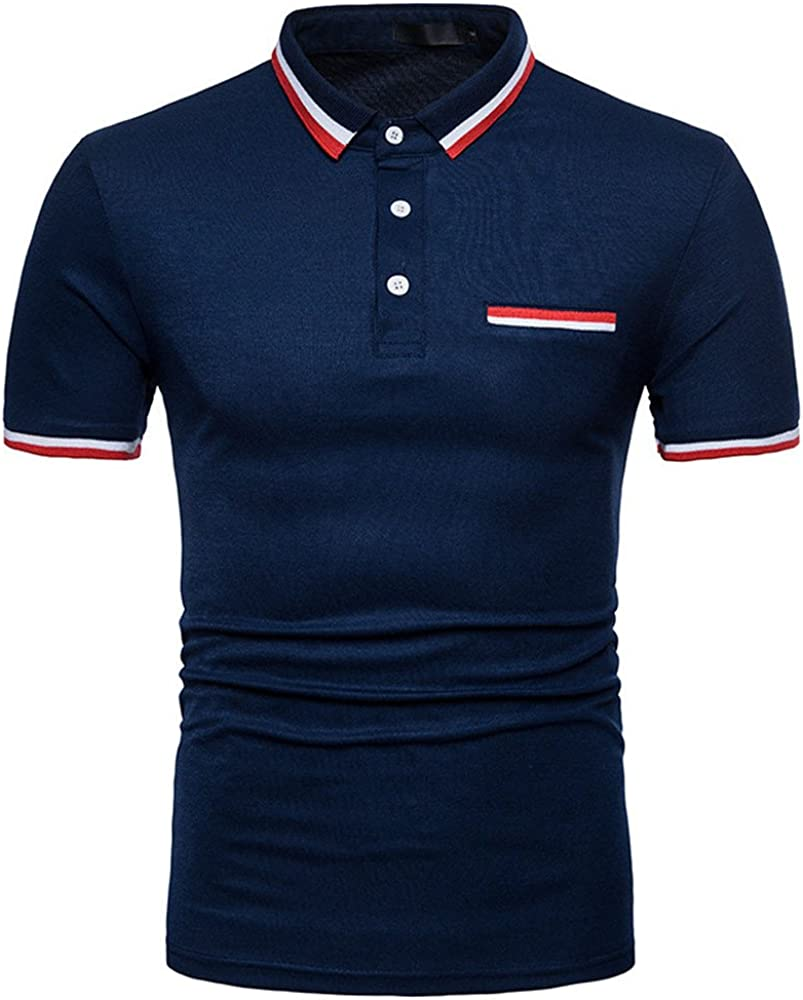 FUNEY Men's Casual Polo Shirts Short Sleeve Fashion Slim Fit Printed Tops Contrast Color Patchwork Cotton Shirt Tops