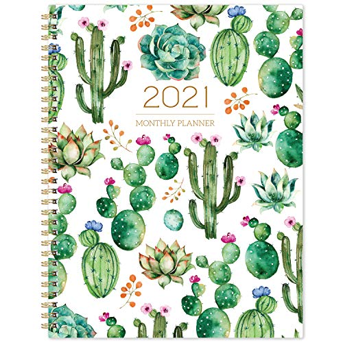 2021 Monthly Planner - Monthly Calendar/Planner 2021 with Tabs, Jan 2021 - Dec 2021, 13 Note Pages, Twin-Wire Binding, Two-Side Pocket, Perfect Organizer