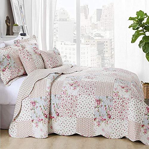 Oxford Homeware® Steppdecke Bettüberwurf Tagesdecke Gesteppt Bestickt Patchwork 3 Stück100% Polyester Bett Decken + 2 Kissenbezüge (Meadow, Super King 250x270 cm)